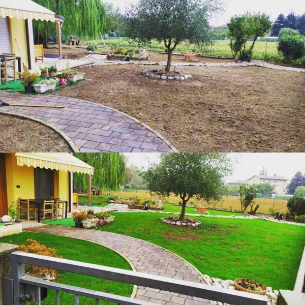 Intervento su giardino, prima e dopo.